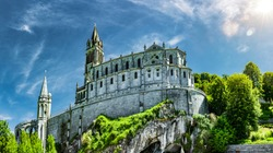 Panoramic View of Basilica Notre Dame in Lourdes France Europe