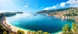 Panoramic view of bay and resort town Villefranche sur Mer. Cote d'Azur, French riviera, France