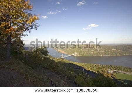 Panoramic view of Bear Mountain Bridge and Hudson Valley, New York