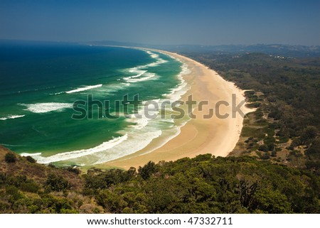 Panoramic View of Beautiful Byron Bay Beach NSW, AU from Overlook on Hill