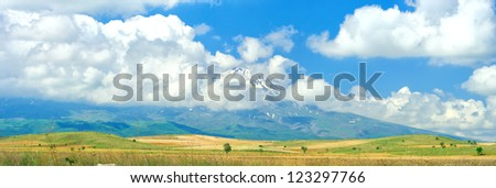 Panoramic view of beautiful scenic mountains
