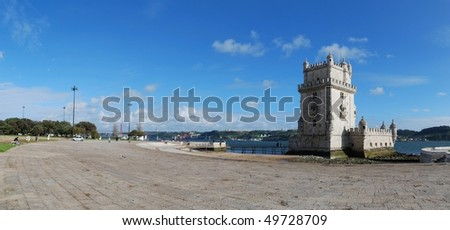 panoramic view of Belem Tower, one the most famous landmark in the city of Lisbon (Portugal)
