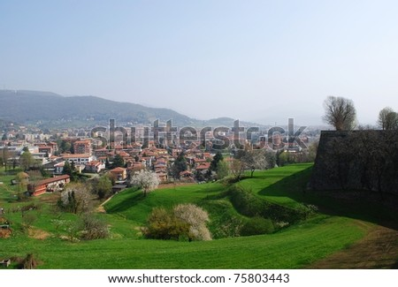 Panoramic view of Bergamo city and hills in spring, Lombardy, Italy