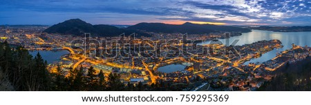 Panoramic view of Bergen from Mount Floyen, Bergen, Norway at sunset.