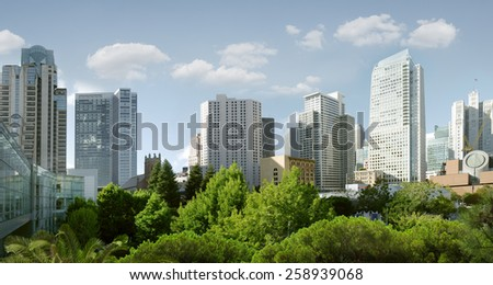 panoramic view of big modern city during summer morning