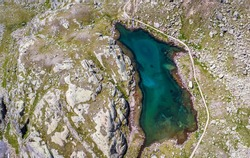 Panoramic view of Black lake (Lago Nero), located in Pejo Valley (Val di Pejo), Trentino Alto Adige, northern Italy - Otles - Cevedale group - Stelvio National Park