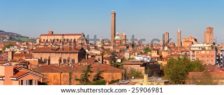 Panoramic view of Bologna. Emilia-Romagna, Italy