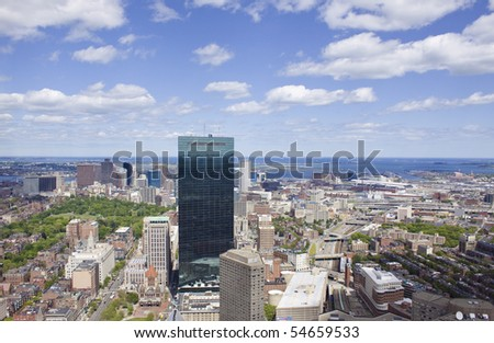 Panoramic view of Boston - stock photo