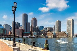 Panoramic view of Boston cityscape at Fan Pier Park in a sunny day, USA