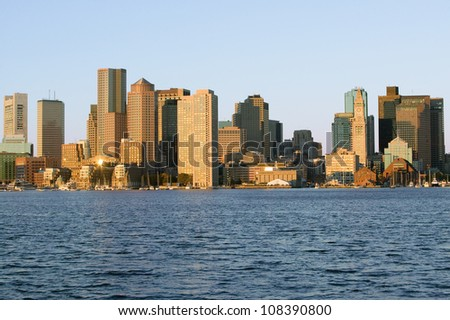 Panoramic view of Boston Harbor and the Boston skyline, Massachusetts, New England - stock photo