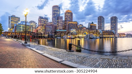 Panoramic view of Boston in Massachusetts, USA at sunset showcasing the historic architecture of Back Bay in the summer. Stock fotó ©