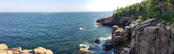 Panoramic view of Boulder Beach at  Acadia National Park in Maine