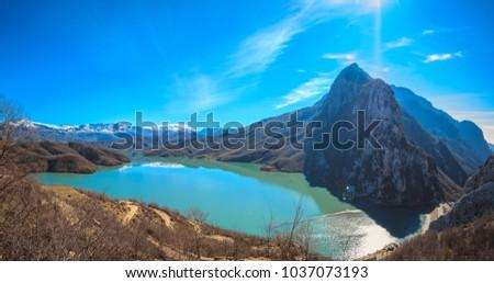 Panoramic view of Bovilla lake on a sunny day - Tirana, Albania