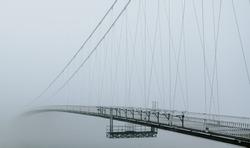 Panoramic view of bridge with fog