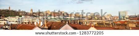 Panoramic view of Bristol centre skyline, England, United Kingdom