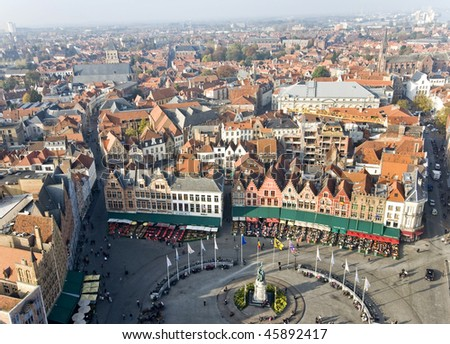 Panoramic view of Bruges from the tower, Belgium