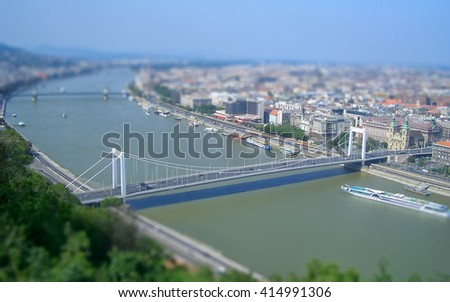 Panoramic view of Budapest and the Danube River, Hungary. Tilt-shift effect applied - stock photo