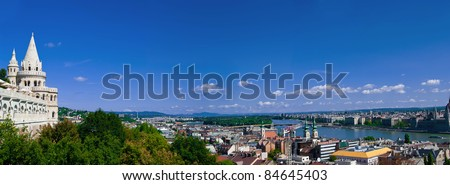 Panoramic view of Budapest from Fisherman's Bastion with Danube, Royal Palace, Chain Bridge, and St. Stephen's Basilica