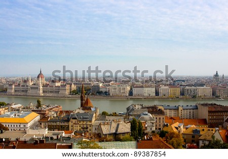 panoramic view of Budapest including river Danube and roofs