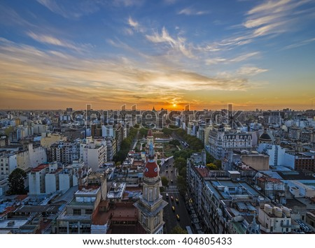 Panoramic view of Buenos Aires at dusk