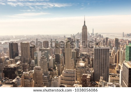 Panoramic view of building and skyscrapers in Midtown and downtown skyline of lower Manhattan, New York City, USA. #1038056086