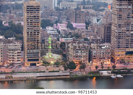 Panoramic view of Cairo city at sunset hours, Egypt
