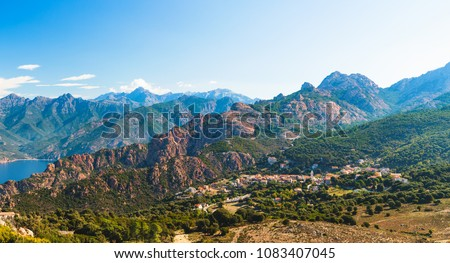 Panoramic view of Calanques de Piana and Piana village in Corsica, France