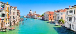 Panoramic view of Canal Grande with Basilica di Santa Maria della Salute in Venice, Italy