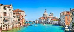 Panoramic view of Canal Grande with Basilica di Santa Maria della Salute in Venice, Italy