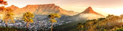 Panoramic view of Cape Town, Table Mountain and Lions Head in South Africa