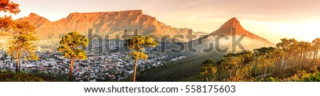 Panoramic view of Cape Town, Table Mountain and Lions Head in South Africa #558175603