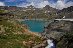 Panoramic view of Careser lake, located in Pejo Valley (Val di Pejo), Trentino Alto Adige, Italy, summer 2020