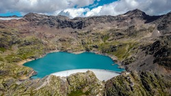 Panoramic view of Careser lake, located in Pejo Valley (Val di Pejo), Trentino Alto Adige, northern Italy - Otles - Cevedale group - Stelvio National Park