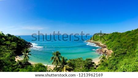 Panoramic view of Carrizalillo beach in Oaxaca Mexico