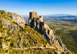 Panoramic view of castle Chateau de Queribus. Aude department. Languedoc-Roussillon region. France