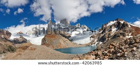 Panoramic View of Cerro Fitz Roy & Laguna de los Tres, Los Glaciares National Park, El Chalten, Patagonia, Argentina