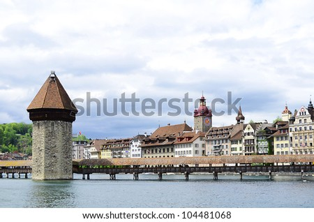 Panoramic view of Chapel Bridge, famous covered wooden bridge. Lucerne Switzerland
