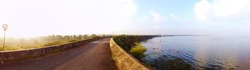 Panoramic View Of Chembarambakkam Lake Located in Chennai. Largest Water Supply Lake In Chennai. Chennai Metro