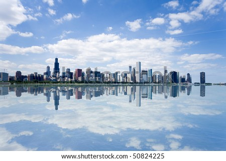 Panoramic view of Chicago city waterfront skyline. - stock photo
