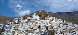 Panoramic view of Chora town, the capital of Ios island, Cyclades, Greece