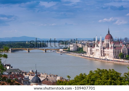 Panoramic view of city Budapest - the capital of Hungary - stock photo