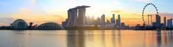 panoramic view of city skyline of Singapore in Asia