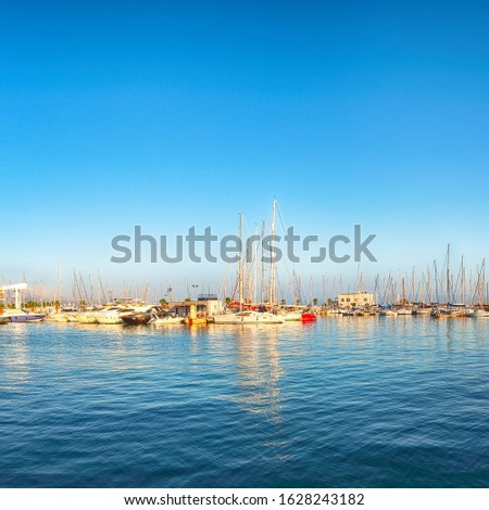 Panoramic view of colorful boats and yachts in harbor of Split .  Location:  Split, Dalmatia, Croatia, Europe