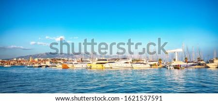 Panoramic view of colorful boats in harbor of Split .  Location:  Split, Dalmatia, Croatia, Europe