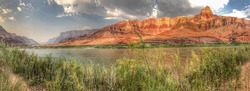 Panoramic view of Comanche Point and the Palisades of the Desert along the Colorado River in Grand Canyon National Park, Arizona.