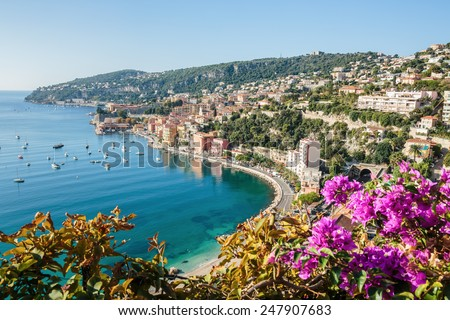 Panoramic view of Cote d'Azur near the town of Villefranche-sur-Mer