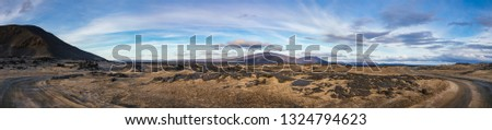 Panoramic view of Ódáðahraun (Lava of Evil Deeds), the largegst Icelandic lava field with desert sands volcanic ash and lava formations at Highlands of Iceland, Scandinavia