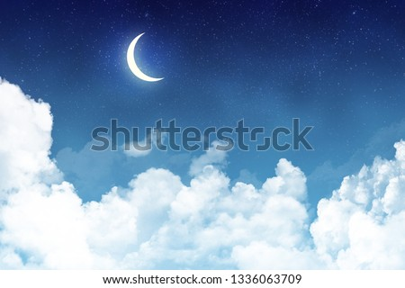 Panoramic view of dark cloudy skyscape at night with new month. Wallpaper or backdrop with copyspace.  #1336063709
