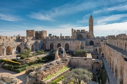 Panoramic view of David's tower at spring time in old city of Jerusalem, Israel.