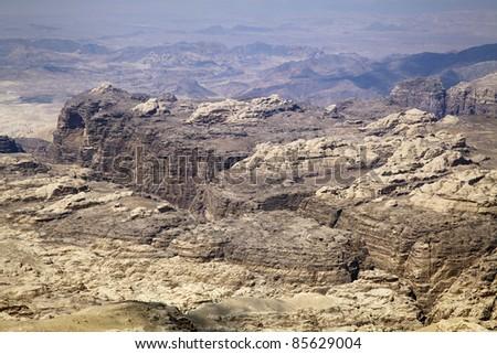 panoramic view of desert and mountains near Petra ancient city, Jordan